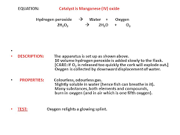 7 equation catalyst is manganese iv oxide hydrogen peroxide water oxygen 2h 2 o 2 2h 2 o o 2 description the apparatus is set up as shown