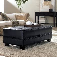 Coffee Table Ottoman Decor Black Leather Ottoman Coffee Table And Wicker Sofa And