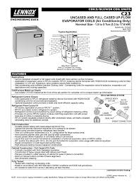 Evaporator Coil Sizing Chart C23 Uncased And Full Cased Up Flow Evaporator Coils Air
