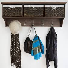 Coat Rack With Storage Baskets New Hallway Shelf And Hooks Rustic Hall Tree With Bench And Coat Rack