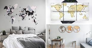25 <b>World Map Wall</b> Art Designs Made From Wood
