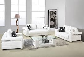 White Modern Living Room Furniture Glass Table With White Leather Chairs Dining Room Medium Size