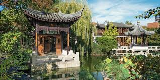 pavilions on lake zither at lan su chinese garden in portland oregon picture