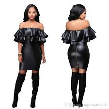 2016 woman new fashion y night club splicing leather dress woman autumn tight slash neck package hip artificial leather pencil dress
