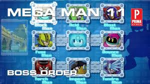Mega Man 11 Boss Order And Boss Weakness Tips Prima Games