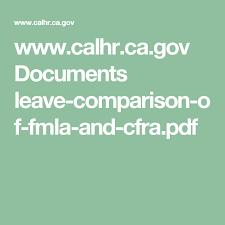 Fmla Cfra Chart Leave Comparison Chart Fmla Vs Cfra Leave Administration