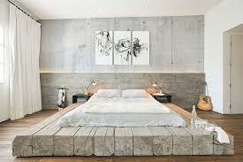 View in gallery Bleached salvaged wood used to create custom platform bed  in the industrial bedroom [Design: