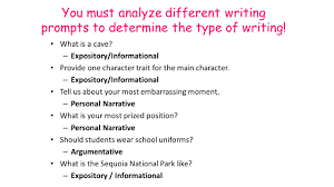 types of writing in th grade english informational essay  you must analyze different writing prompts to determine the type of writing