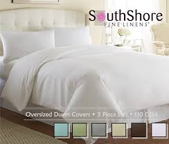 com souths fine linens 3 piece oversized duvet cover set bright white king california king home kitchen
