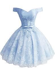 Short Light Blue Grad Dresses Ainidress Princesses Off The Shoulder Short Prom Dresses Appliques Party Homecoming Dress Light Blue Size 2