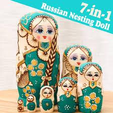 Bộ búp bê Nga bằng gỗ 7 mảnh thủ công Babushka Matryoshka trang trí, giá  chỉ 409,150đ! Mua ngay kẻo hết!