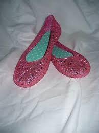 Details About Girls Walmart Brand Jelly Ballet Flat Shoes Pink Glitter Size 2 New