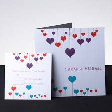 wedding invitations with hearts big and small hearts square folded wedding invite ukf132 ukf132