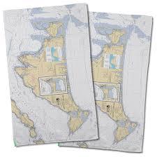 Marthas Vineyard Ma Nautical Chart Hand Towel Set Of 2