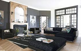 Modern Black Living Room Furniture Calm Living Room Interior With L Shaped Black Sofa Completed And