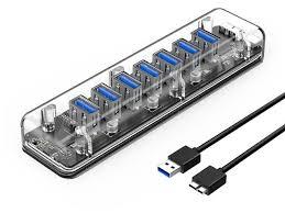 <b>ORICO</b> Creative Transparent HUB <b>7 Ports USB3</b>.<b>0</b> Super Speed ...