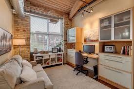 industrial style home office. Home Office With Industrial Style Exposed Ductwork - Elegant Space Beautiful Tables And N