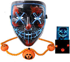 Led Light Up Mask Amazon Gwei Halloween Mask Scary Led Light Up Mask With Fun Necklace For Festival Cosplay Halloween Festival Party