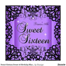 Black And Purple Invitations Sweet Sixteen Sweet 16 Birthday Black Purple Invitation