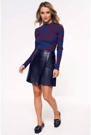 more views tess faux leather skirt