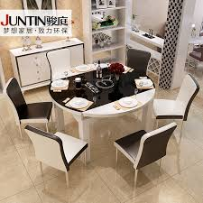 tempered glass round table telescopic folding wood dining tables and chairs cooker combination minimalist modern 6