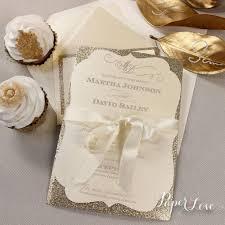 Amazing Personalised Gold Glitter Ribbon Day Wedding Invitation