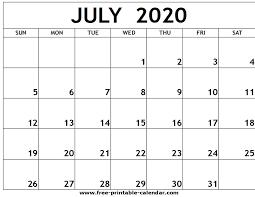 June July 2020 Calendar July 2020 Printable Calendar Free Printable Calendar Com