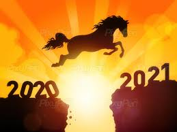 Horse jumping to New Year 2021 - Wallpaper and Background • PixyPen