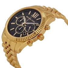 michael kors lexington chronograph black dial gold tone mens watch 691464951597 watch shape