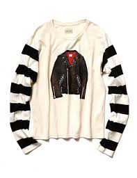 Kapital Black Striped Long-Sleeve White Ivory T-shirt