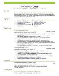 Unarmed Security Guard Resume Reference Objective Pdf Format Of