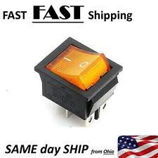 120v rocker switch 4 pin on off 2 position rocker switch dpst 110v 115v 120v amber 20a ac