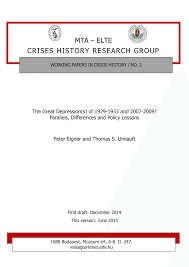 the great depression s of and parallels the great depression s of 1929 1933 and 2007 2009 parallels differences and policy lessons pdf available