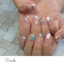 夏ハンドショートジェルお客様 S Nailsのネイルデザインno