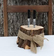 rustic wedding decor pen or marker holder tree stump 2 holes burlap ribbon for rustic outdoor barn garden wedding party event