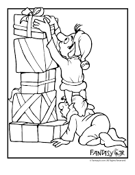 Christmas Elves With Presents Coloring Page Woo Jr Kids Activities