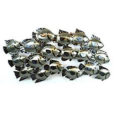 huge beautiful unique silver nautical school of fish metal wall art on fish metal wall art hanging with amazon deco 79 63533 metal fish wall decor home kitchen