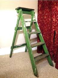 vintage step ladder painters green wooden 3 hire fragram ladd