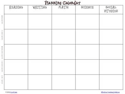 Free Weekly Planning Calendar For Elementary Self-Contained Teachers