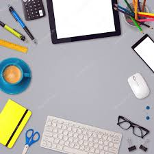 items for office desk. Office Desk And Items \u2014 Stock Photo For