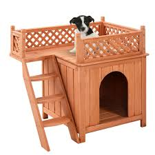 costway wooden puppy pet dog house wood room in outdoor raised roof balcony bed shelter
