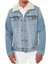 Hollister Mens Blue Denim Jacket Faux Collar Small At