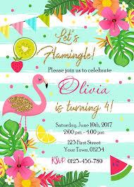 Tropical Party Invitations Pink Flamingo Birthday Party Invitation Lets Flamingle Hawaiian