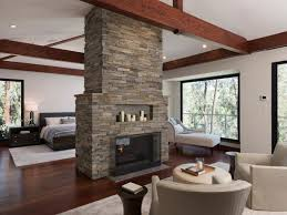 contemporary style furniture. Stone Double Fireplace In Contemporary Master Bedroom Style Furniture