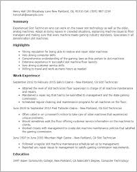 Resume Templates: Slot Technician