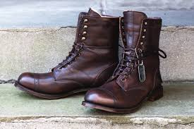 handmade men s brown leather cap toe boot lace up ankle high