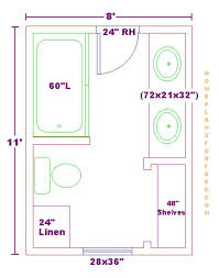 8x11 Bathroom Floor Plan with Double Bowl Vanity Cabinet and Linens