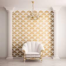 scallop shell pattern wall stencil