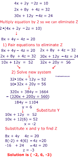 solution steps to solve 3 variable system by elimination