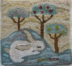 bunny lullaby by marijo taylor pattern only or complete rug hooking kit